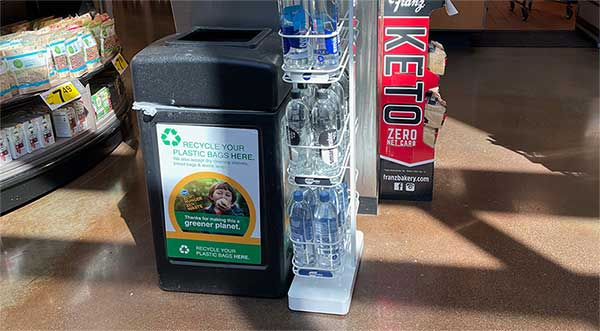 Grocrey store drop off box for recycling plastic