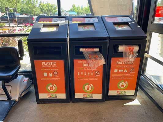 Recycling bins at Home Depot