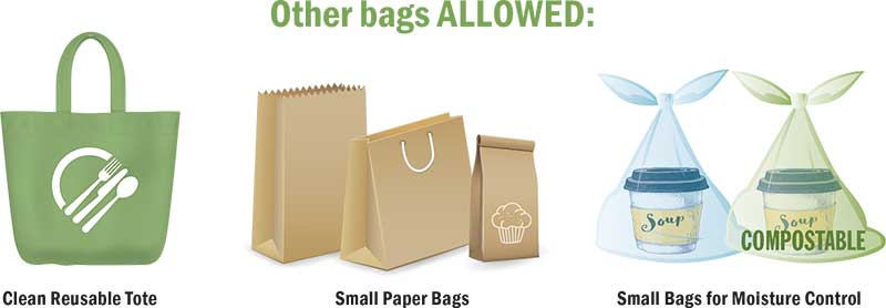 Other bags allowed at restaurants with plastic bag ban.