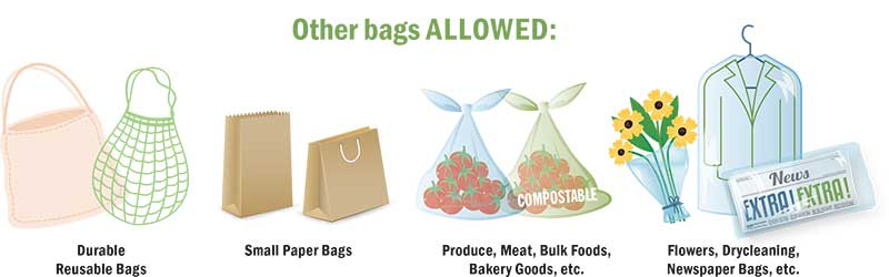 Other bags allowed for plastic bag ban.
